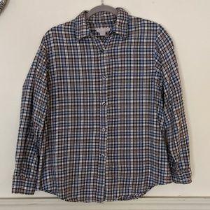 J Crew grey, white and blue plaid medium flannel